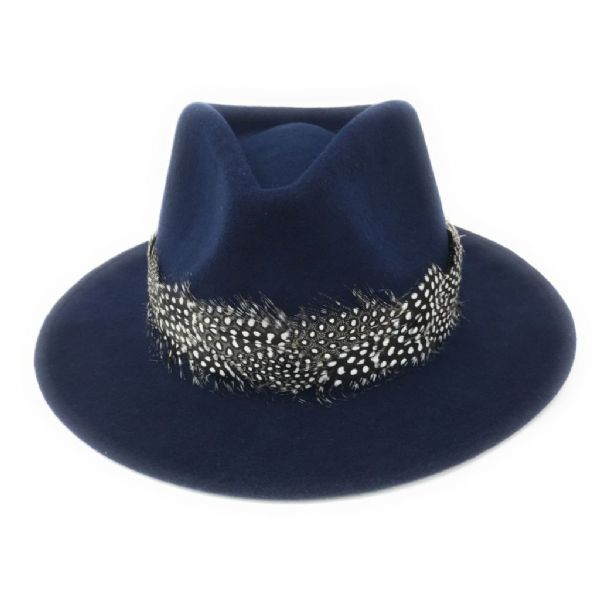 Womens Showerproof Wool Navy Fedora Hat with Country Feather Wrap Trim - Charingworth